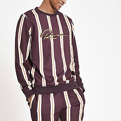 Dark red stripe slim fit sweatshirt