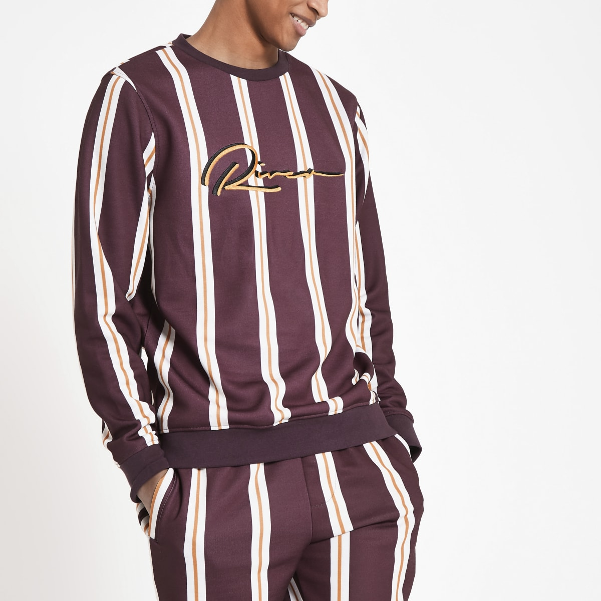 Dark red stripe slim fit sweatshirt