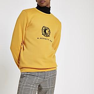 Gelbes, besticktes Slim Fit Sweatshirt