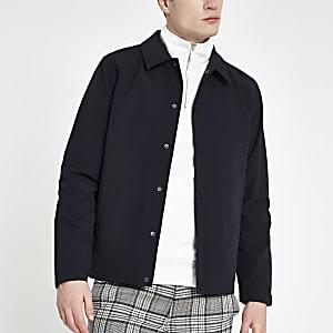 Marineblaue, langärmlige Jacke