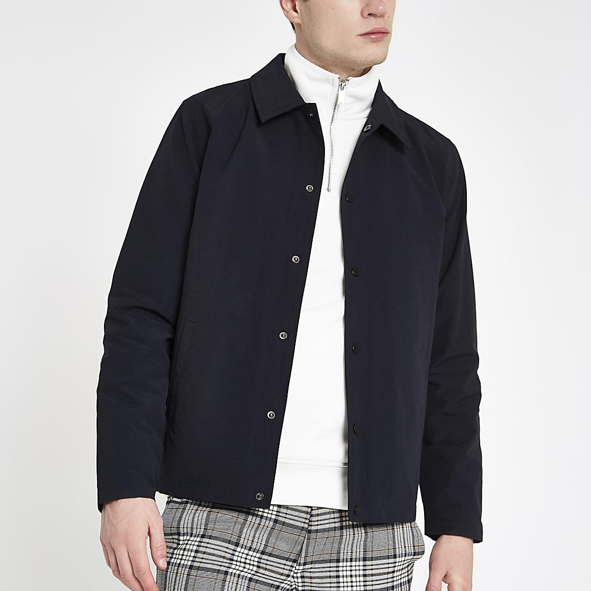 Navy long sleeve coach jacket