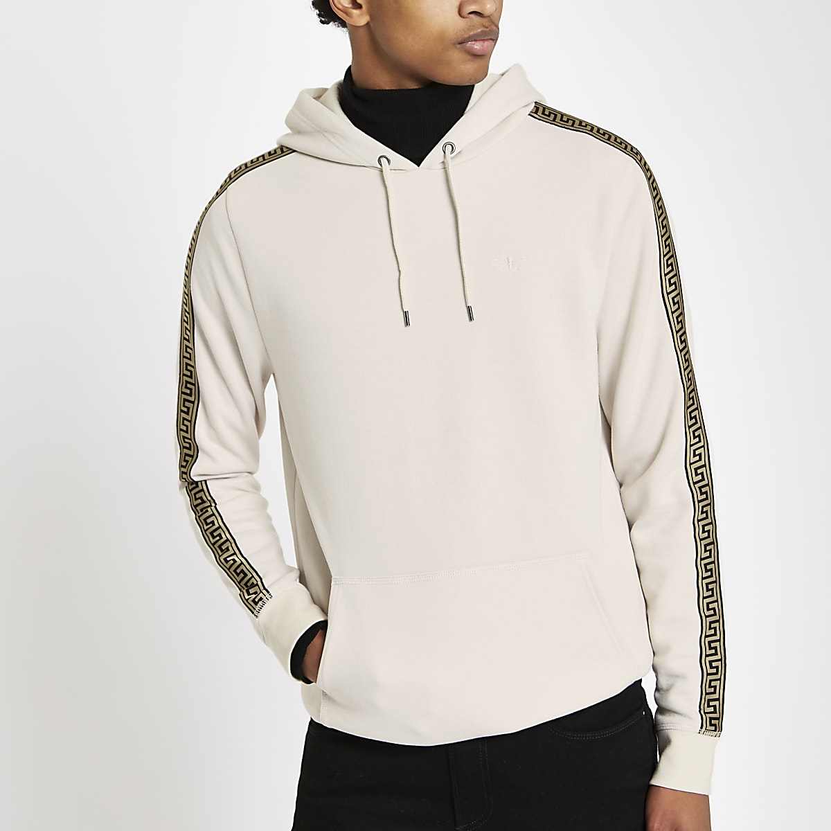 Stone slim fit tape side wasp hoodie