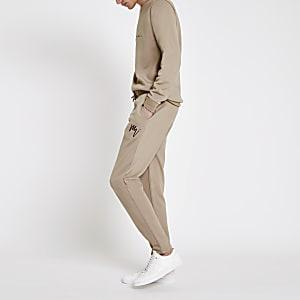 Steingraue, elegante Slim Fit Jogginghose