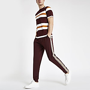 R96 burgundy slim fit smart jogger pants