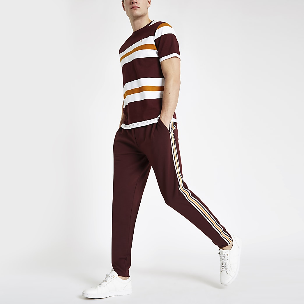 Burgundy R96 slim fit smart jogger trousers