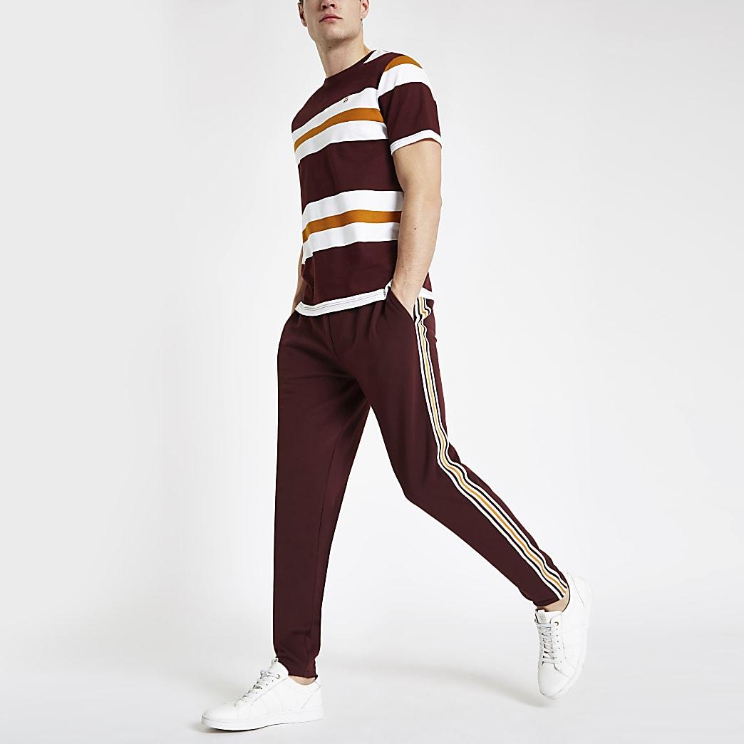Bordeauxrode slim-fit nette joggingbroek met 'R96'-print