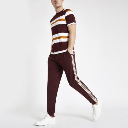 Burgundy R96 slim fit smart jogger trousers