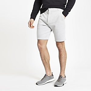 Grey marl slim fit pique shorts