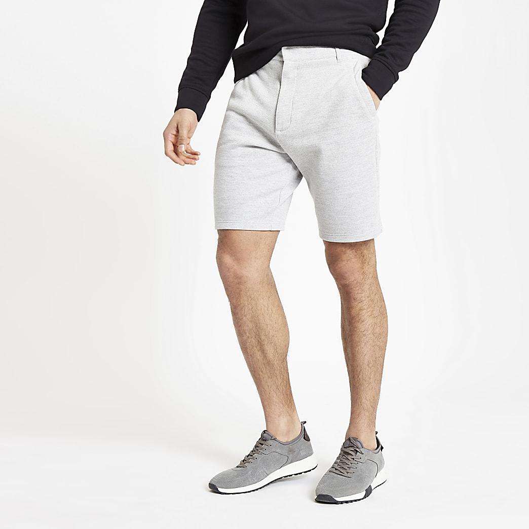 Grijze gemêleerde slim-fit piqué short