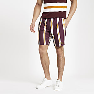 Dark red slim fit stripe print shorts