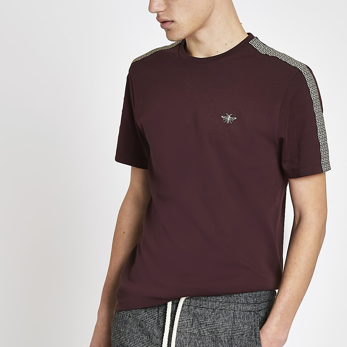 Burgundy RI monogram tape muscle fit T-shirt