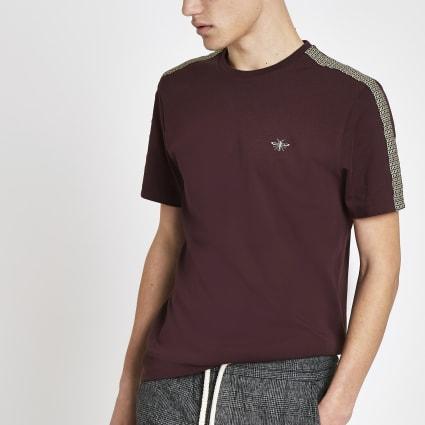 Burgundy RI monogram tape muscle fit T-shirt