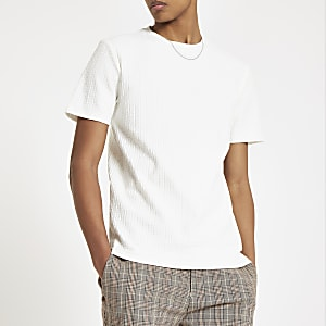 Jacquard-T-Shirt in Ecru