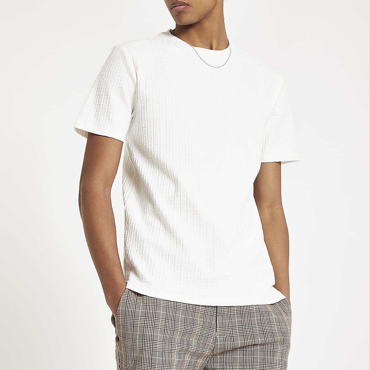 T-shirt motif jacquard RI écru