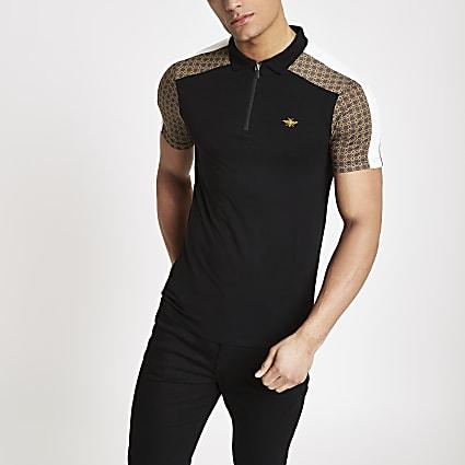 Black geo print half zip polo shirt