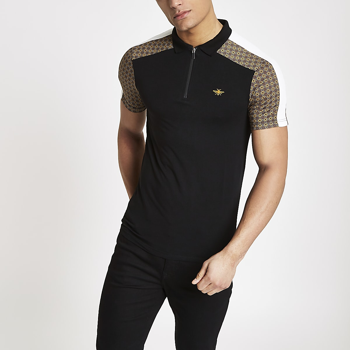 Black geo print half zip polo shirt