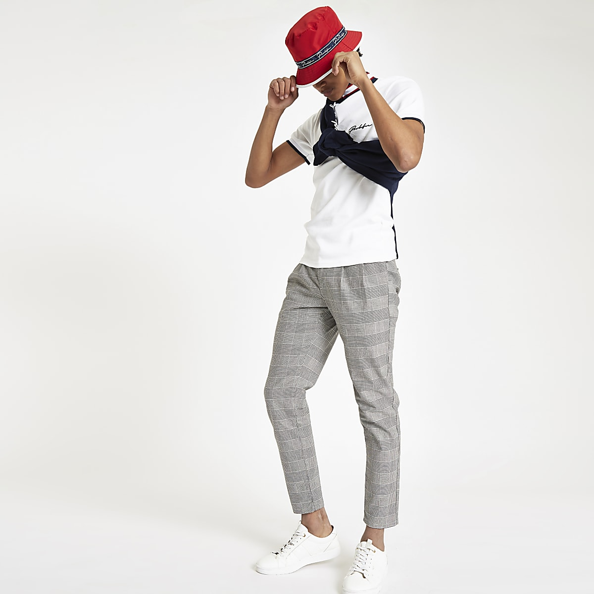 White 'Prolific' funnel neck polo shirt