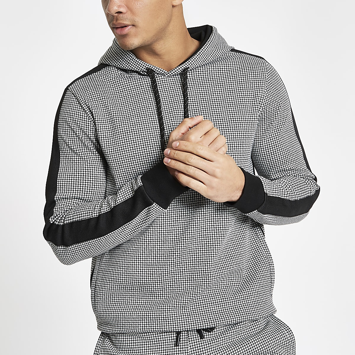 Black dogtooth check slim fit hoodie