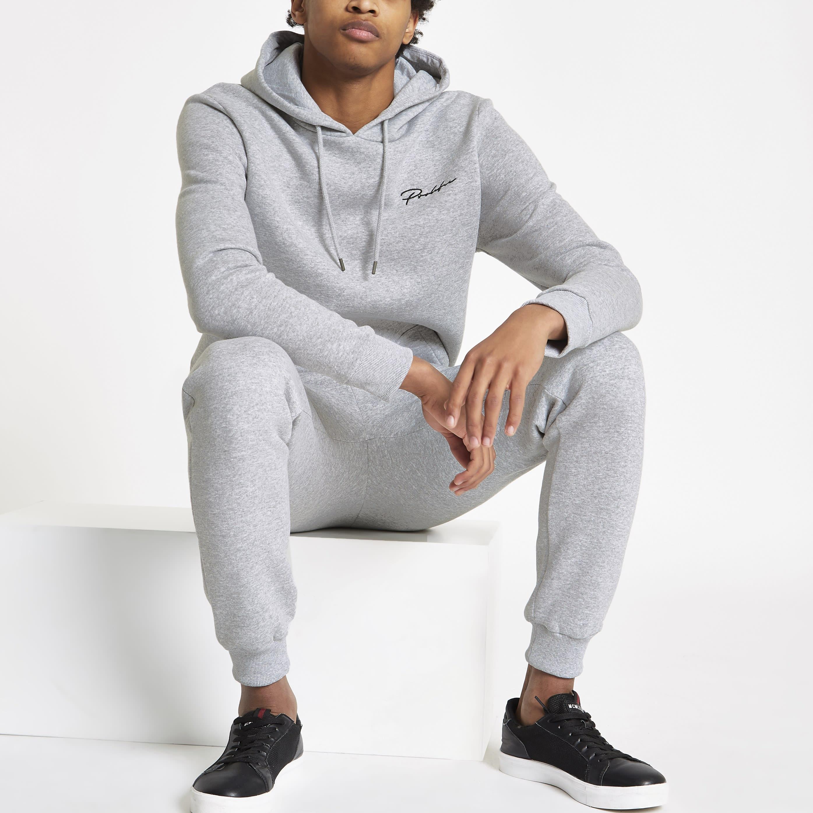 RIVER ISLAND   Mens Grey marl 'Prolific' muscle fit hoodie   Goxip