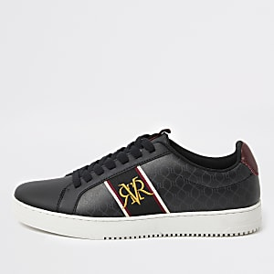 Black RI monogram trainers