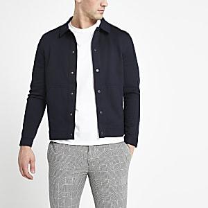 Selected Homme – Marineblaue Jacke aus Baumwollmischung