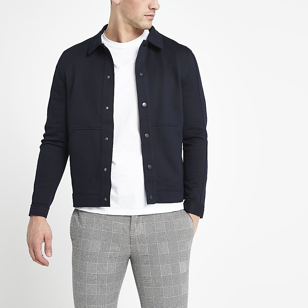Selected Homme navy blended cotton jacket