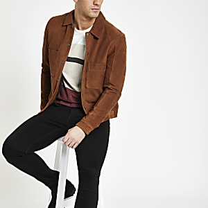Selected Homme brown leather jacket