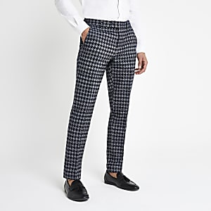 Grey houndstooth check skinny fit smart pants