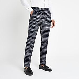 Pantalon skinny habillé motif pied-de-poule gris