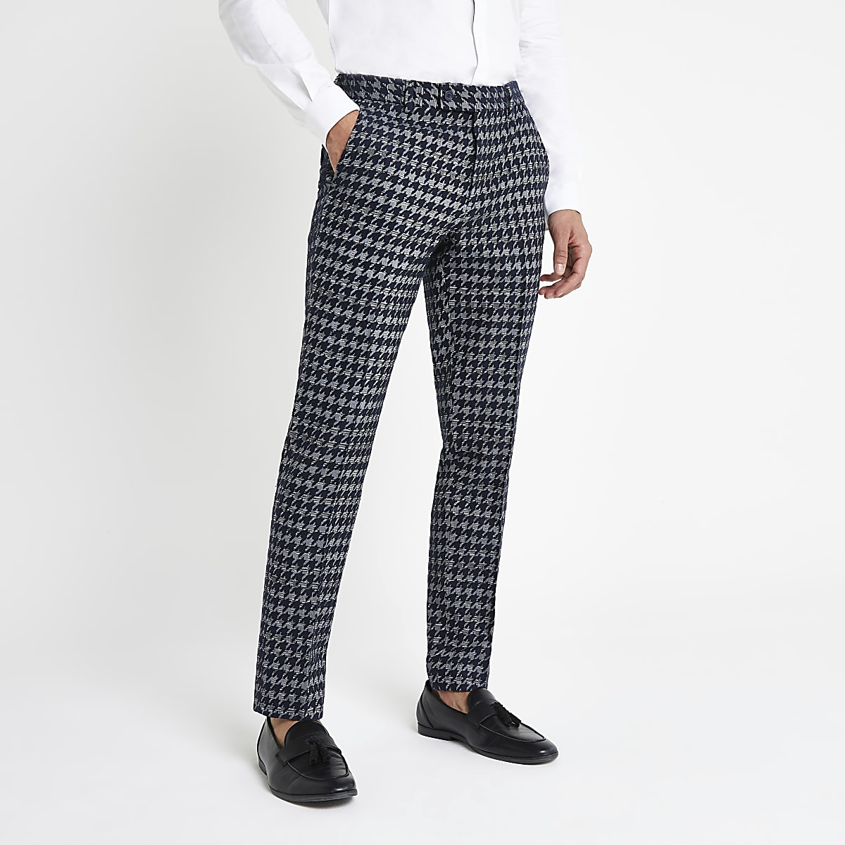 Grey dogtooth check skinny fit smart trousers