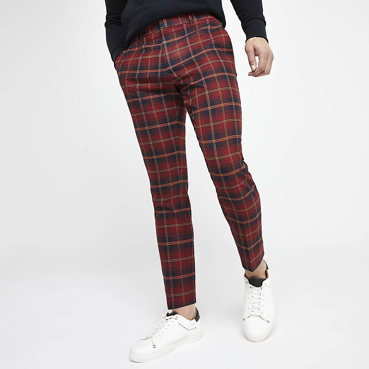 Red plaid check smart skinny crop pants
