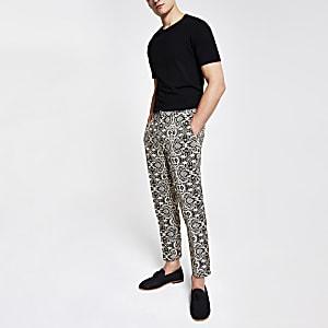 Pantalon habillé court skinny imprimé écru