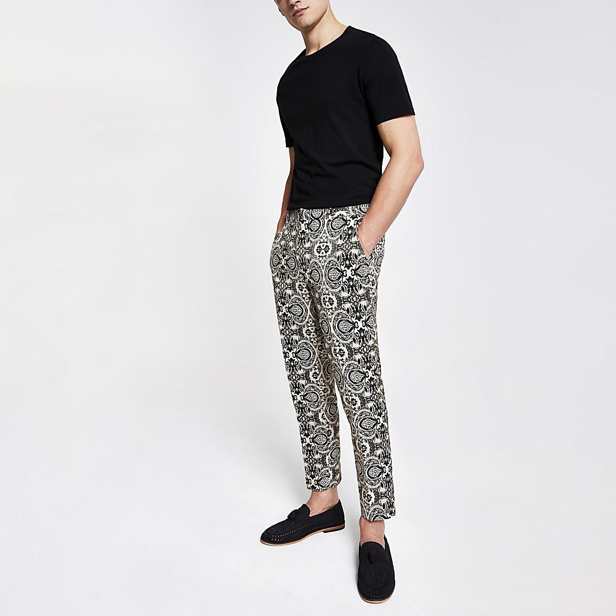 Ecru print skinny crop smart pants