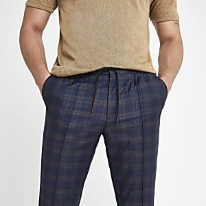 Marineblauwe geruite skinny nette joggingbroek
