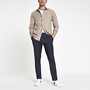 Marineblauwe geruite nette skinny-fit broek