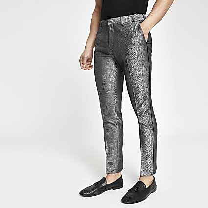 Grey snake skin smart skinny trousers
