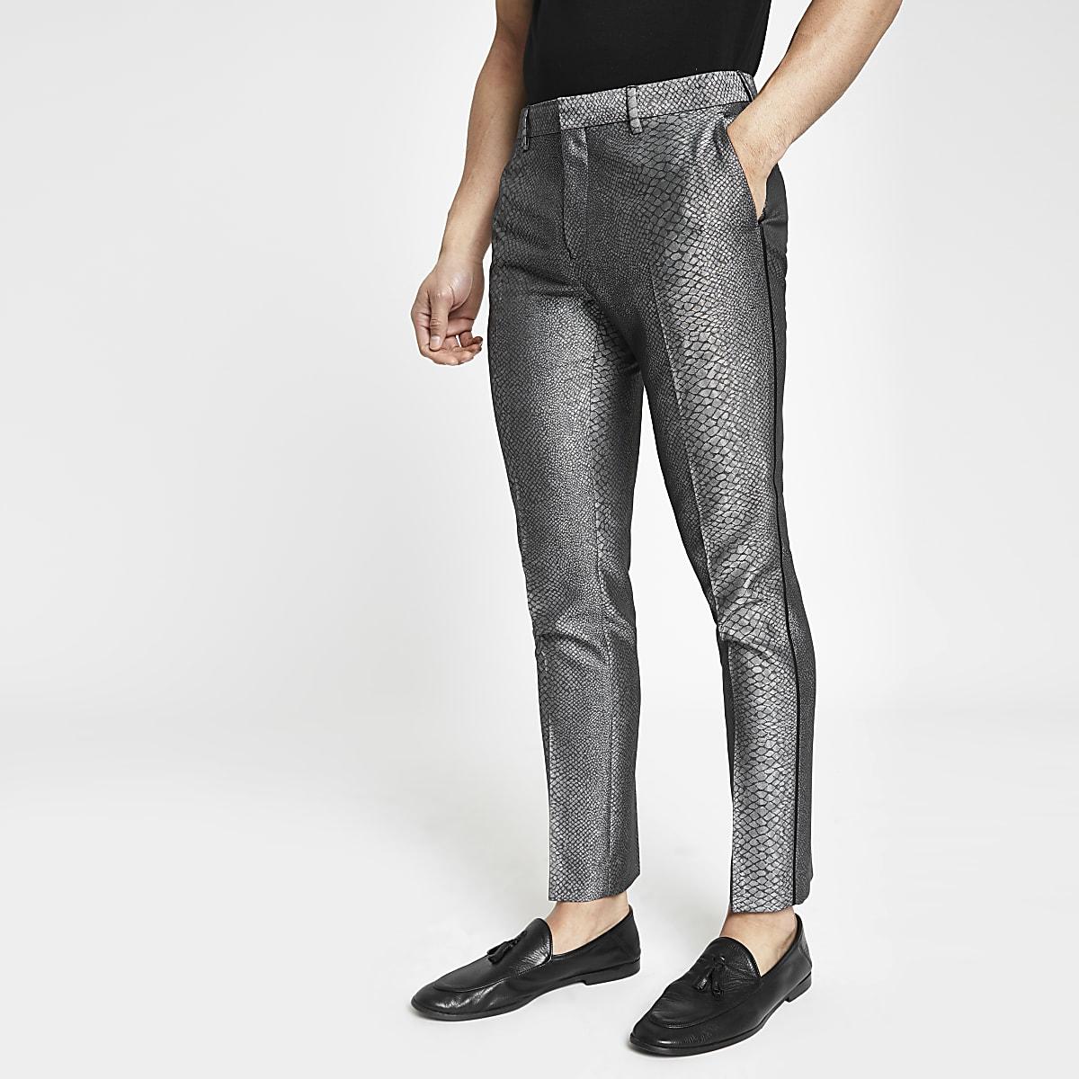 Pantalon skinny habillé motif peau de serpent gris
