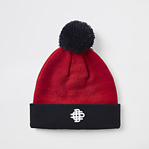 Red contrast bobble beanie hat