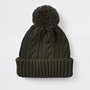 Khaki knit bobble beanie hat
