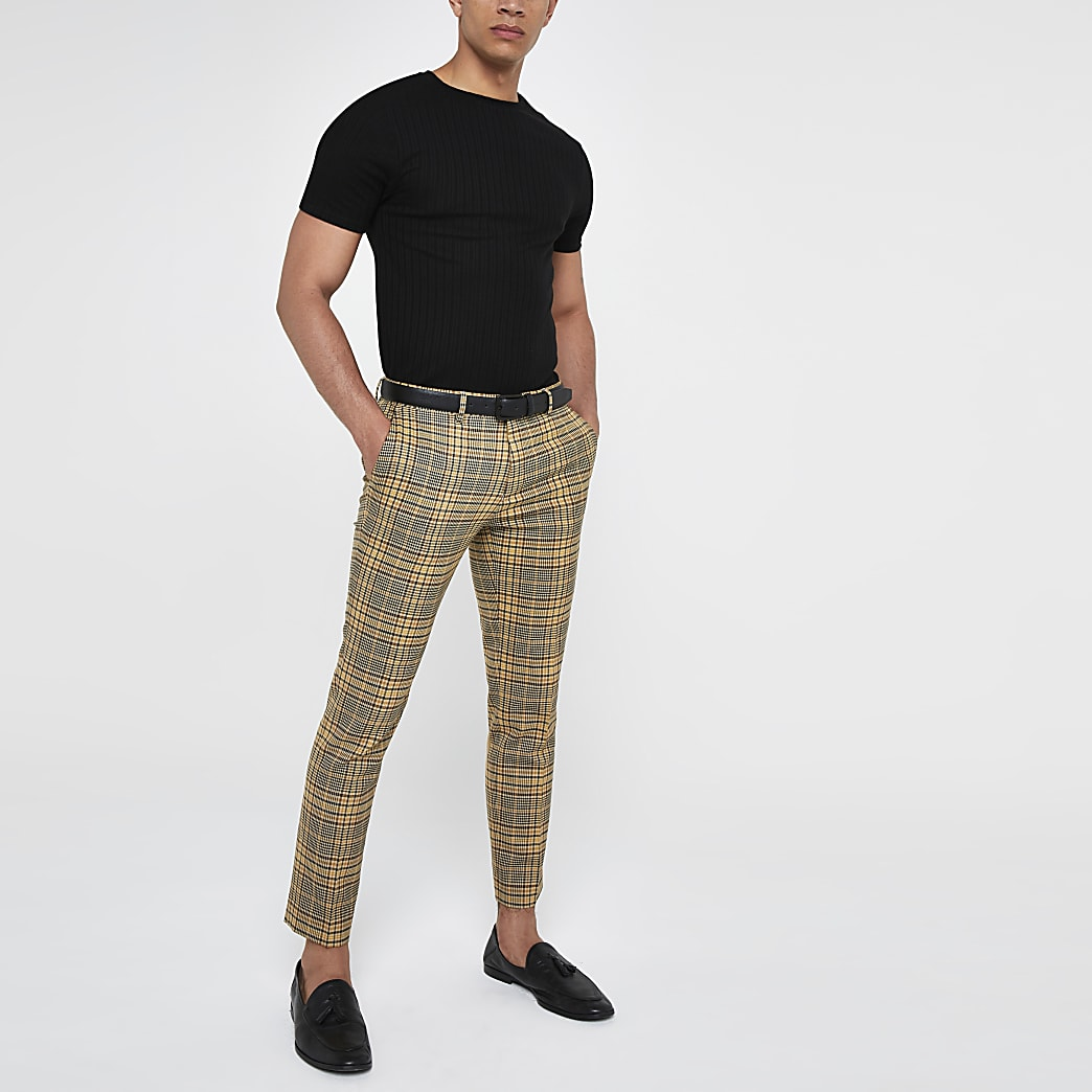 Yellow check super skinny smart trousers