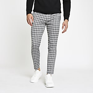 Grey check cropped super skinny pants