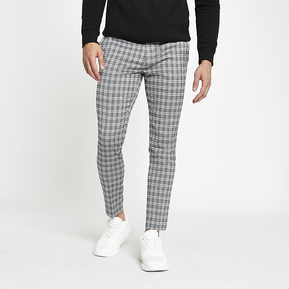 Grey check cropped super skinny pants