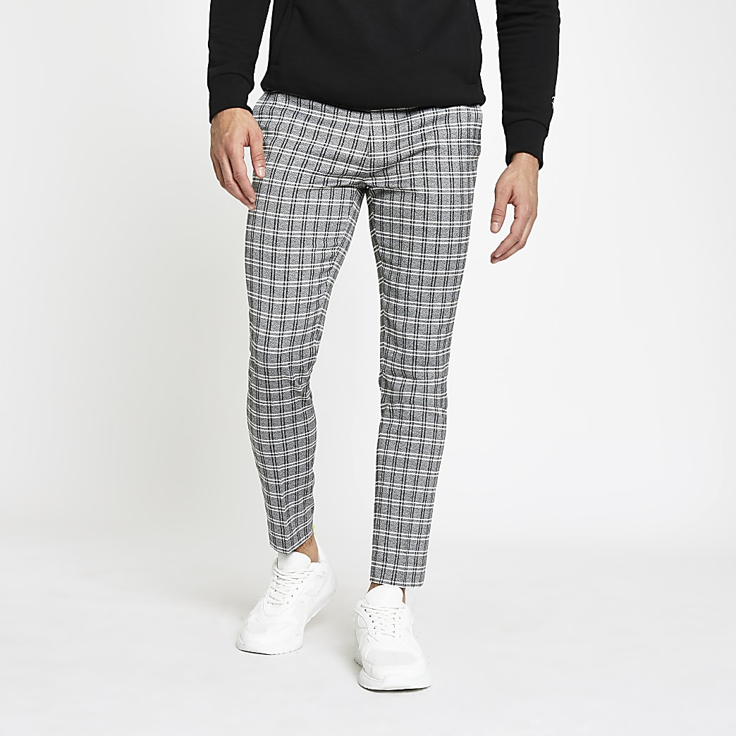 Grey check cropped super skinny trousers