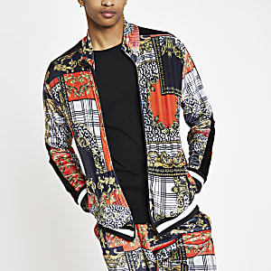 Jaded London red baroque zip track jacket
