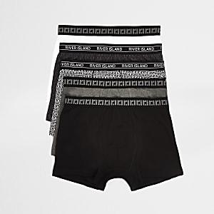 Lot de5 boxers longs à imprimé RI noirs