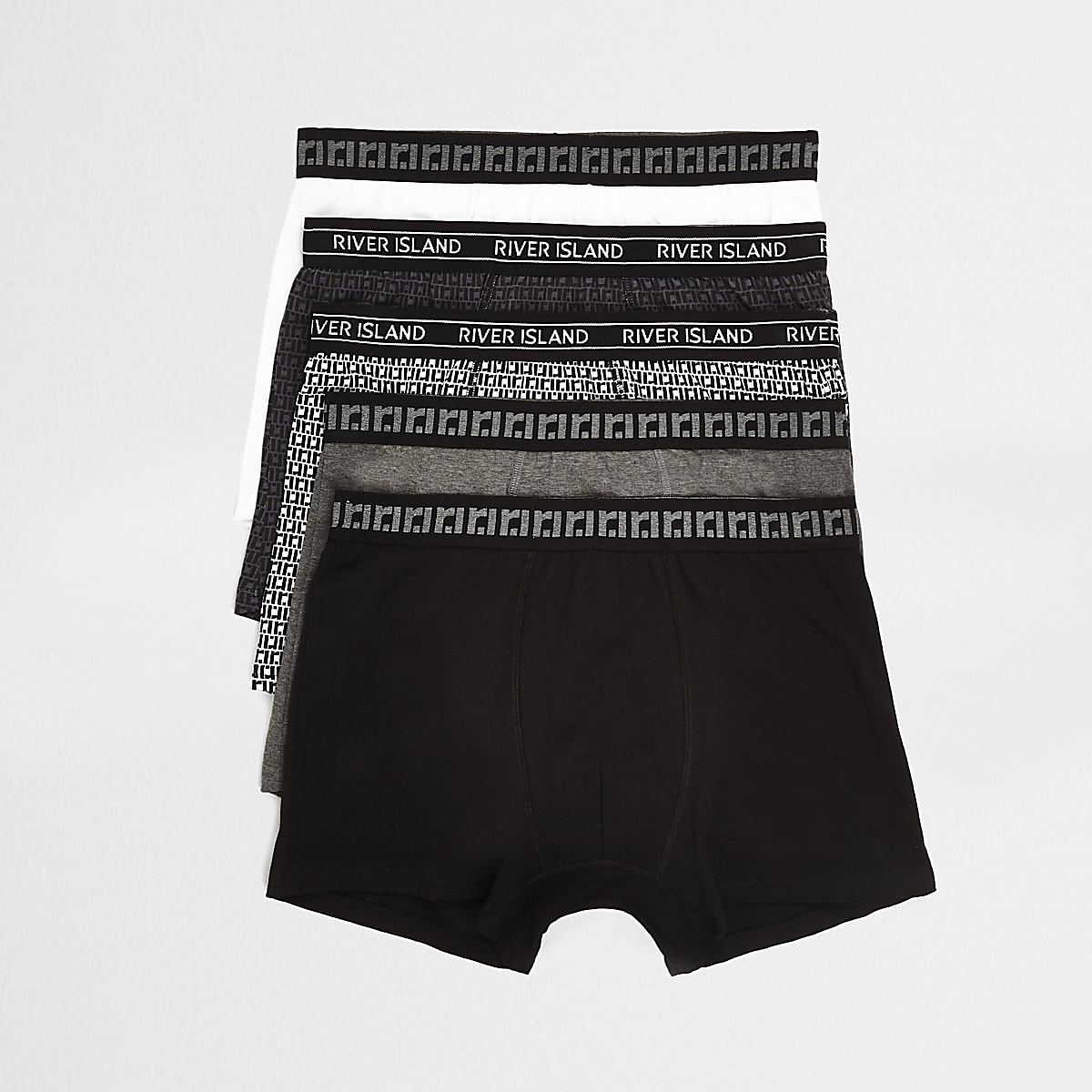 Black RI monogram print trunks 5 pack