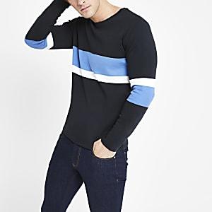 Selected Homme - Zwart gestreept T-shirt met lange mouwen