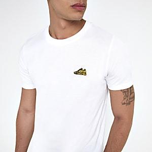 Selected Homme – T-shirt blanc à manches courtes