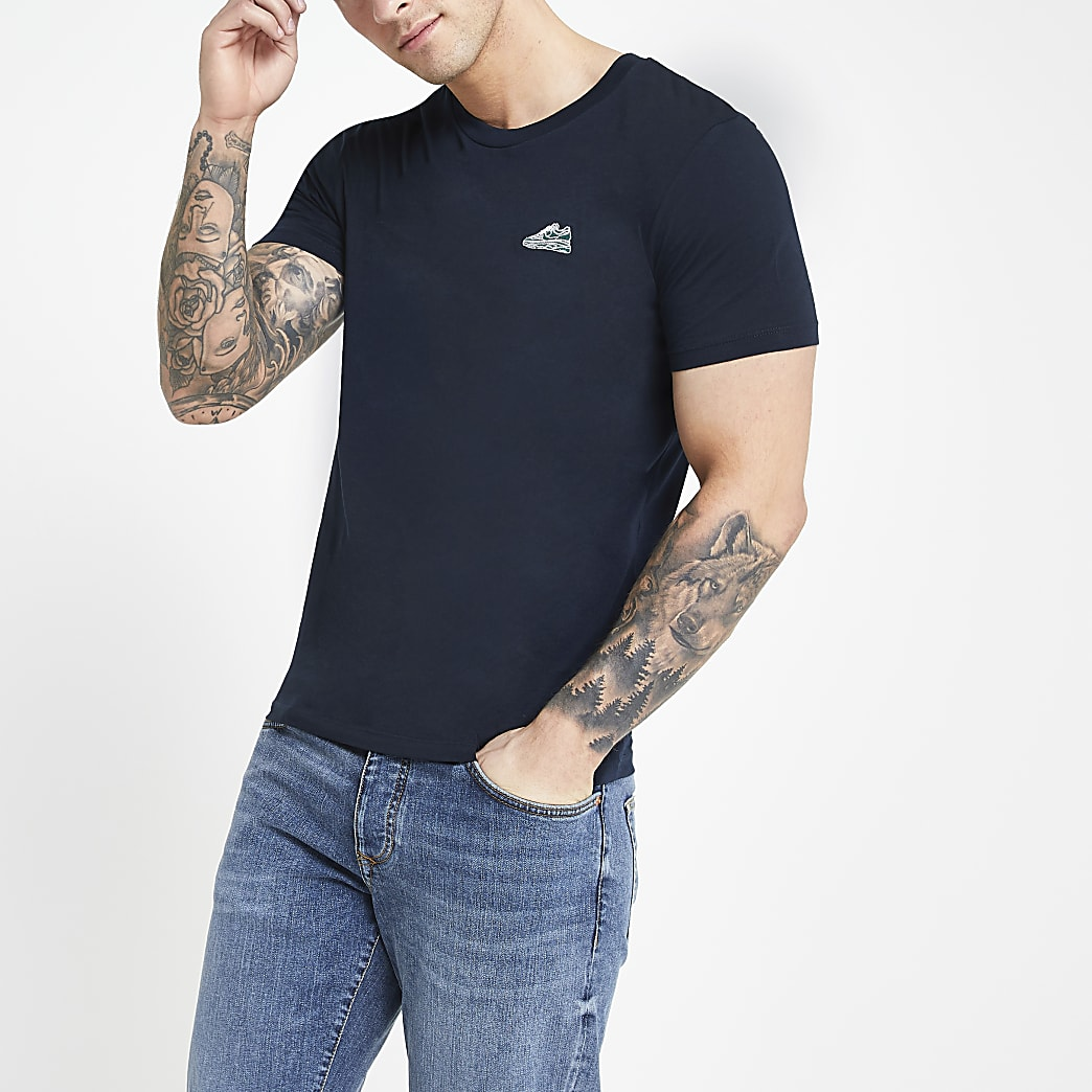 Selected Homme navy short sleeve T-shirt