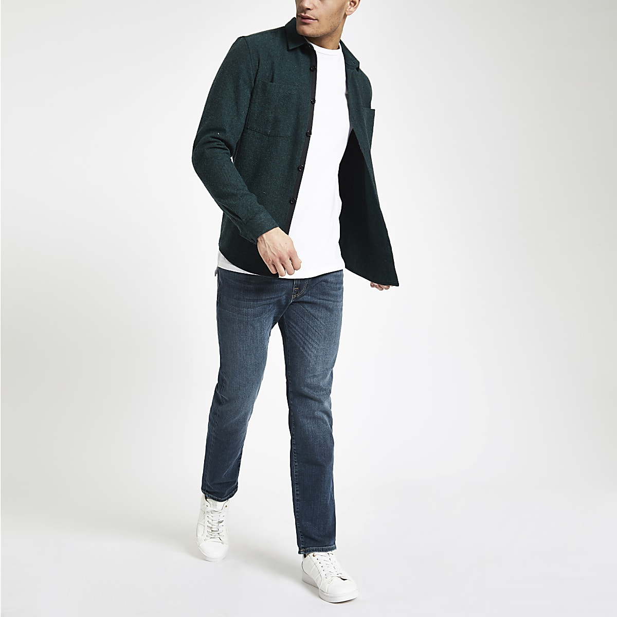 Selected Homme Leon - Blauwe slim-fit jeans